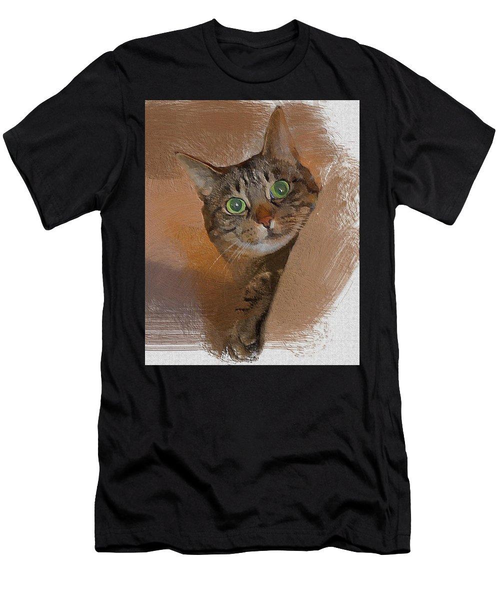 Cat Men's T-Shirt (Athletic Fit) featuring the digital art Cat Desire. by Donald Chandonnet