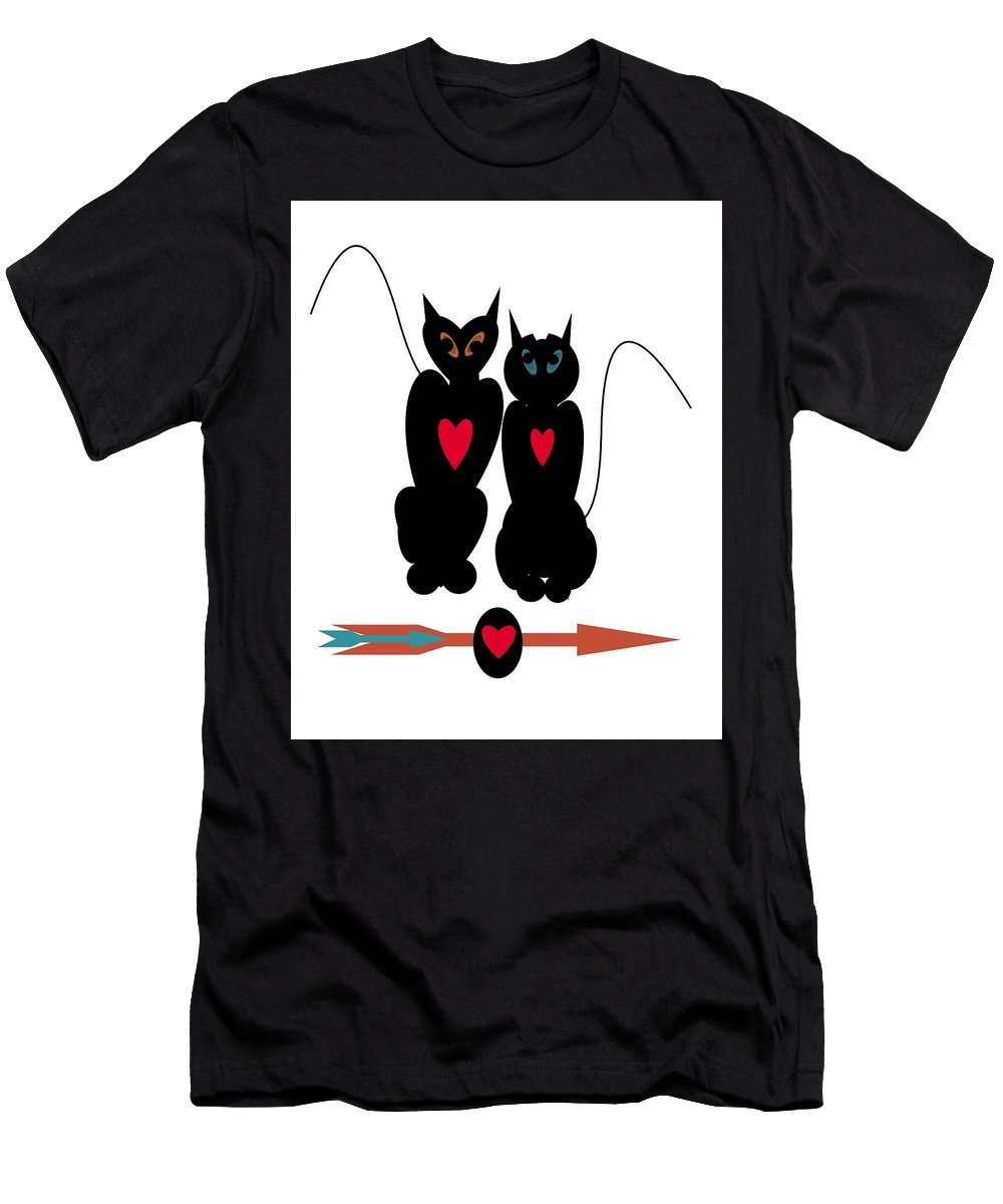 Cats Men's T-Shirt (Athletic Fit) featuring the digital art Cat Love by Steven Clayton