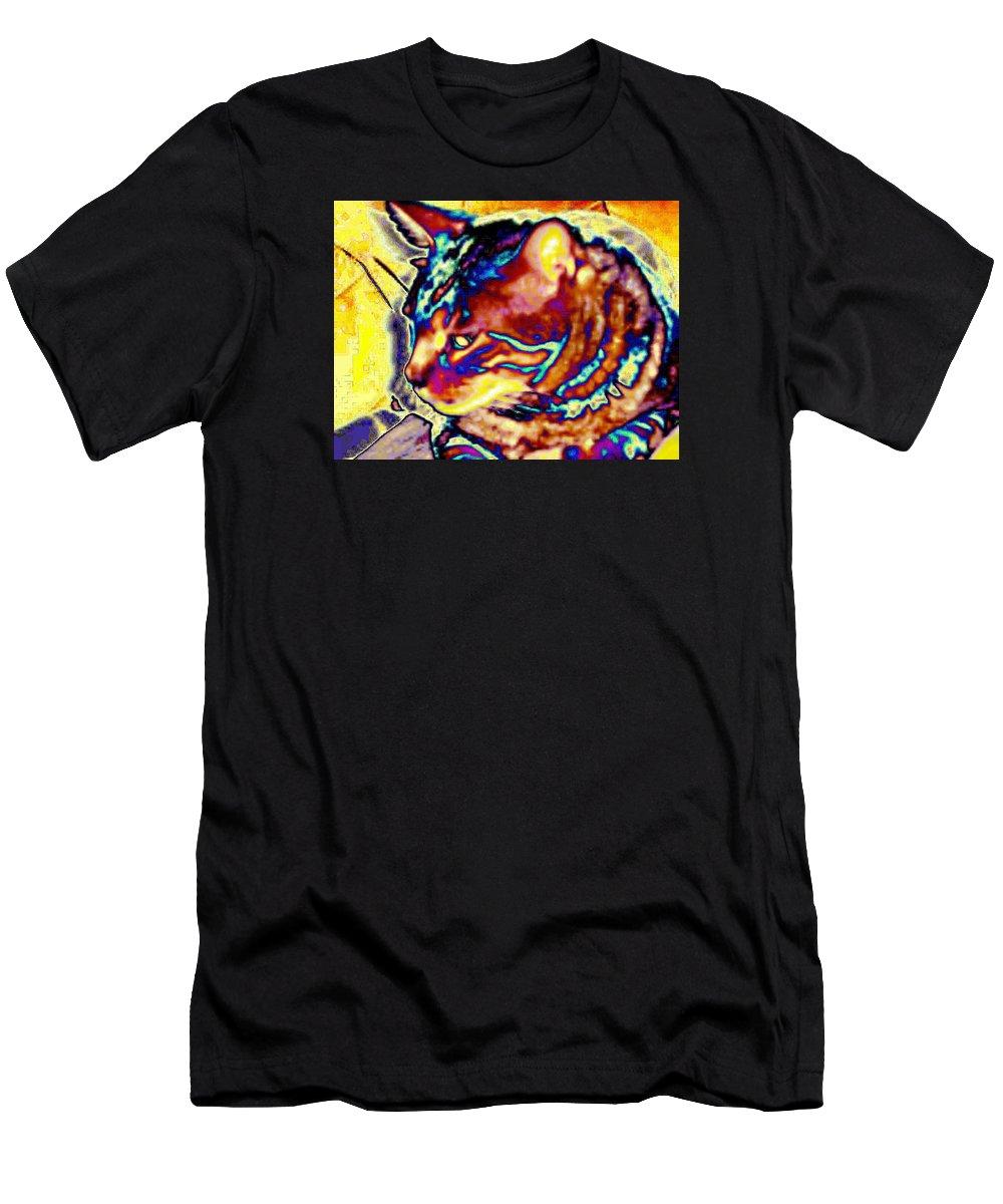 Cat Men's T-Shirt (Athletic Fit) featuring the photograph Cat Nap by Dawn Johansen