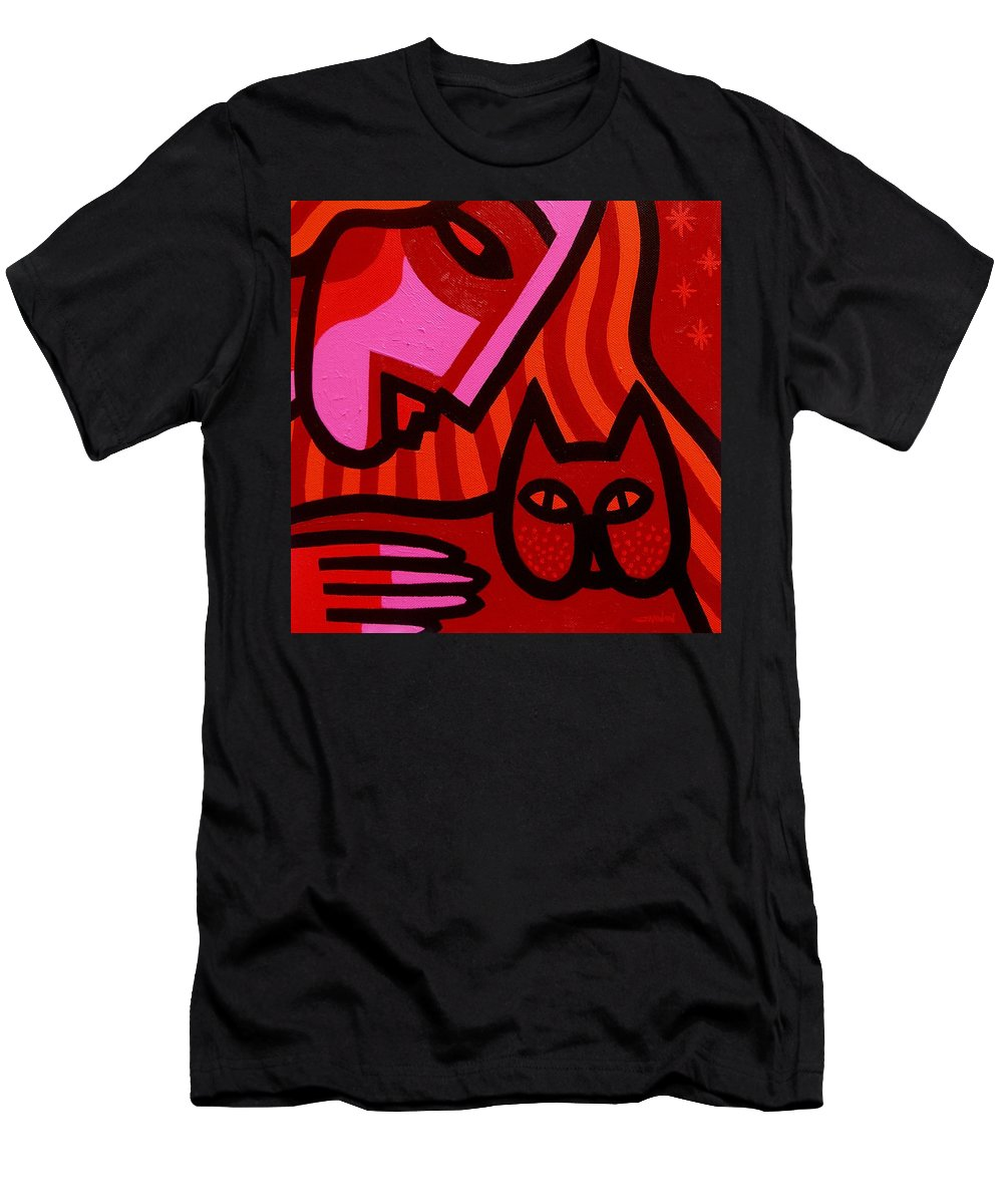 Acrylic Men's T-Shirt (Athletic Fit) featuring the painting Cat Woman by John Nolan