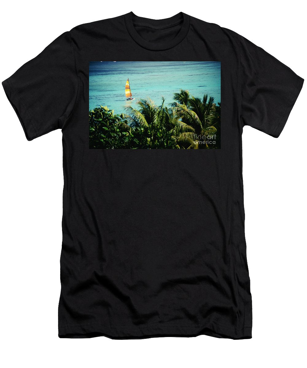 Balance Men's T-Shirt (Athletic Fit) featuring the photograph Catamaran On Tumon Bay by Kyle Rothenborg - Printscapes