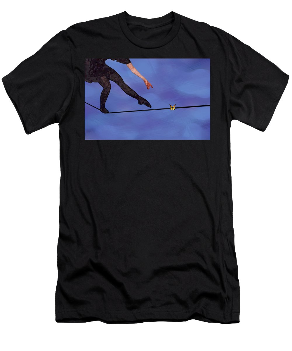 Surreal Men's T-Shirt (Athletic Fit) featuring the painting Catching Butterflies by Steve Karol