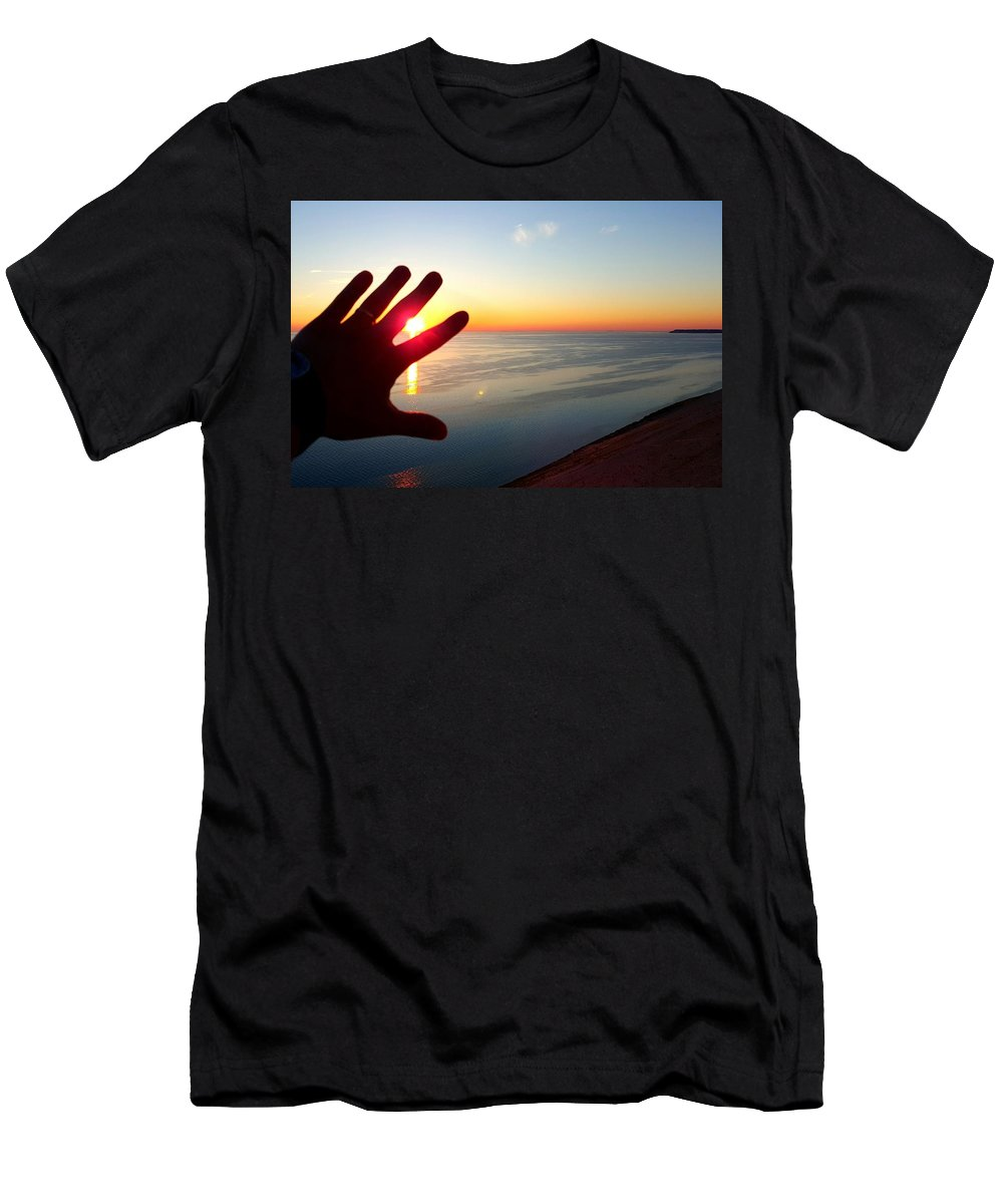 Sunset Men's T-Shirt (Athletic Fit) featuring the photograph Catching The Sunset At Sleeping Bear by William Slider