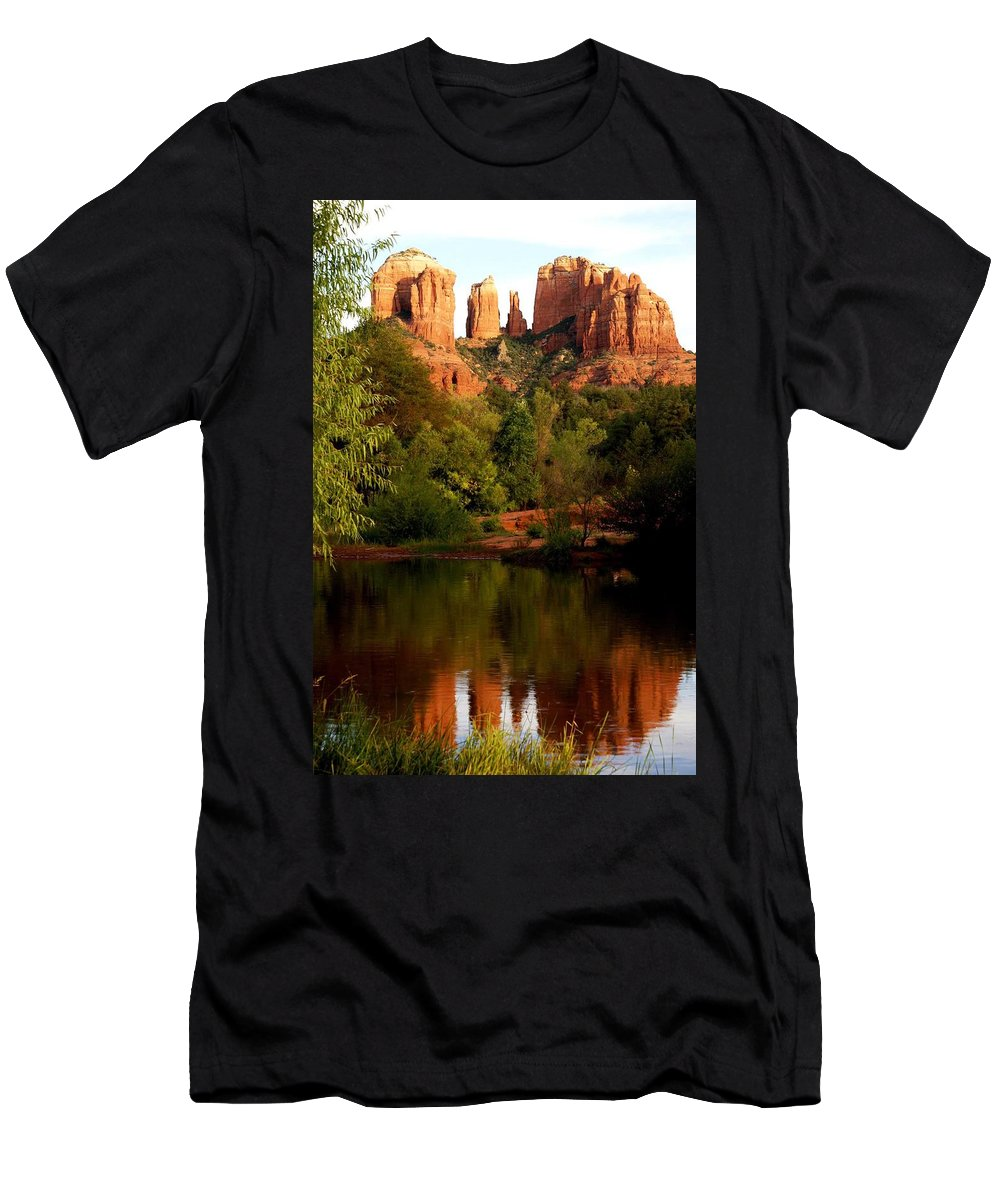 Cathedral Rock Vortex Men's T-Shirt (Athletic Fit) featuring the photograph Cathdedral Rock Vortex by The Art With A Heart By Charlotte Phillips