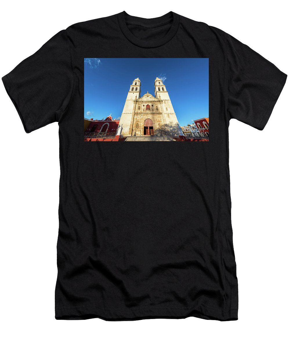Campeche Men's T-Shirt (Athletic Fit) featuring the photograph Cathedral In Campeche by Jess Kraft
