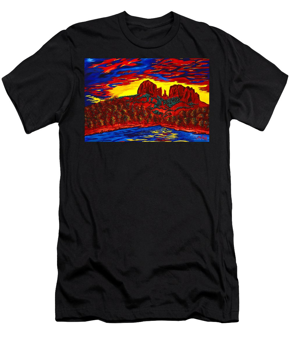 Red Rock Crossing Men's T-Shirt (Athletic Fit) featuring the painting Cathedral Magic by Clark Sheppard