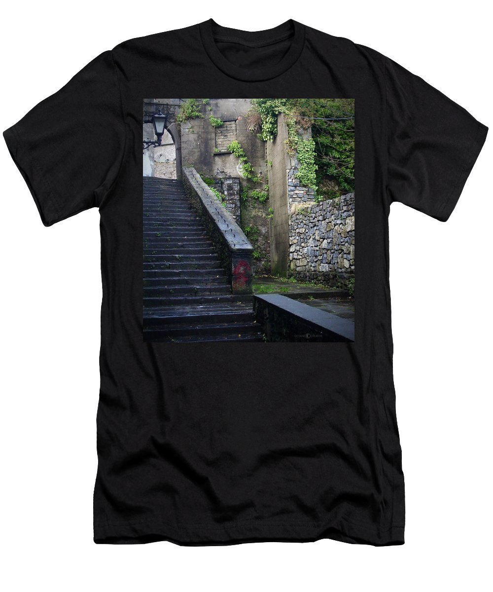 Stairs Men's T-Shirt (Athletic Fit) featuring the photograph Cathedral Stairs by Tim Nyberg
