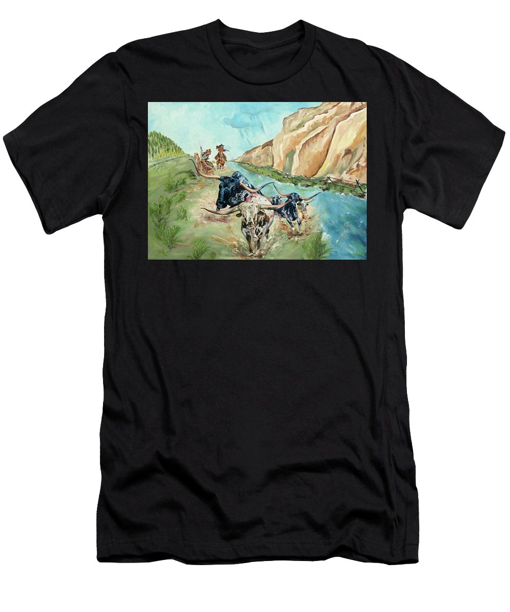 Cowboys Men's T-Shirt (Athletic Fit) featuring the painting Cattle Drive by Debbie Sampson