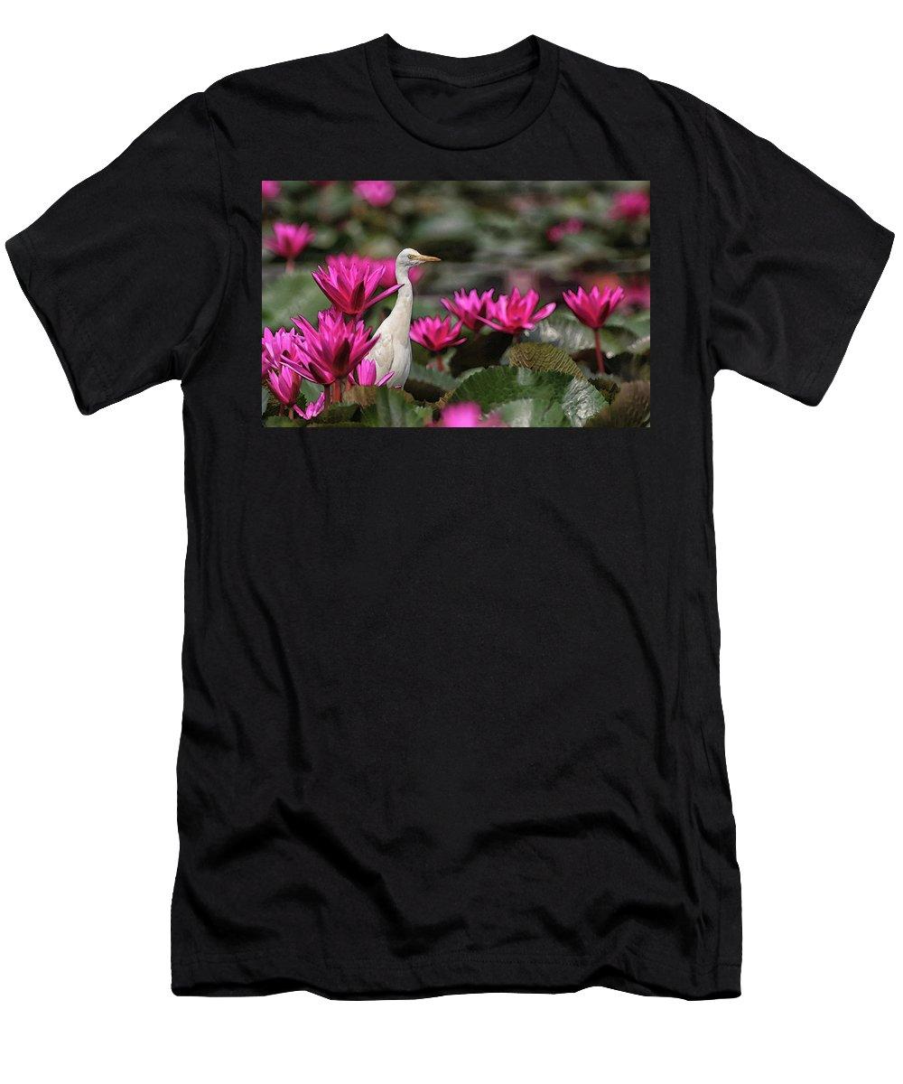 Bird T-Shirt featuring the digital art Cattle Egret amongst Waterlilies by Sandeep Gangadharan