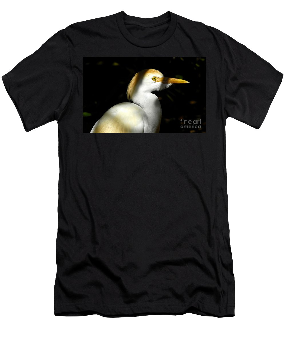 Cattle Egret Men's T-Shirt (Athletic Fit) featuring the photograph Cattle Egret In Shadow by David Lee Thompson