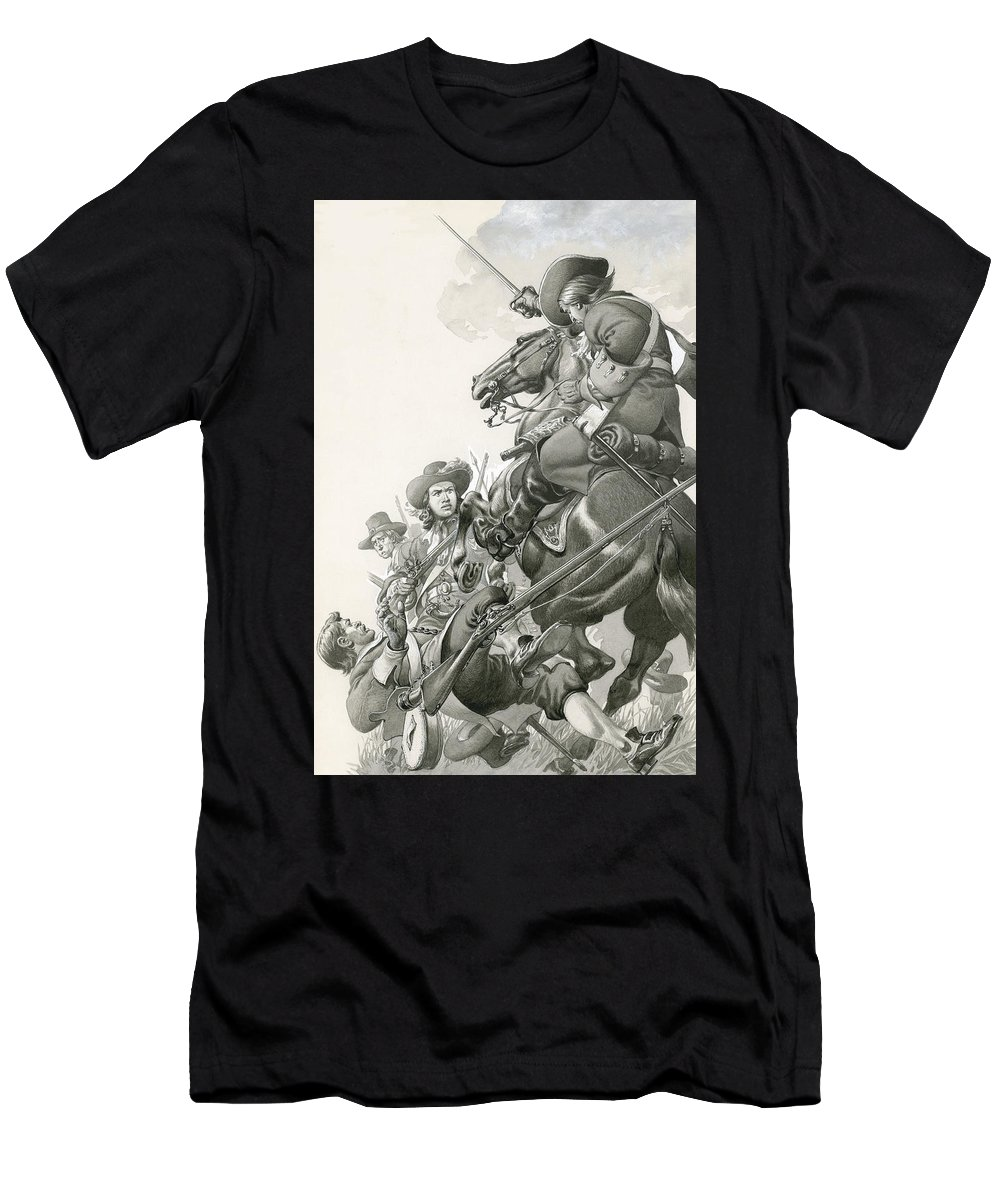 Horse Men's T-Shirt (Athletic Fit) featuring the painting Cavalry Charge by Pat Nicolle