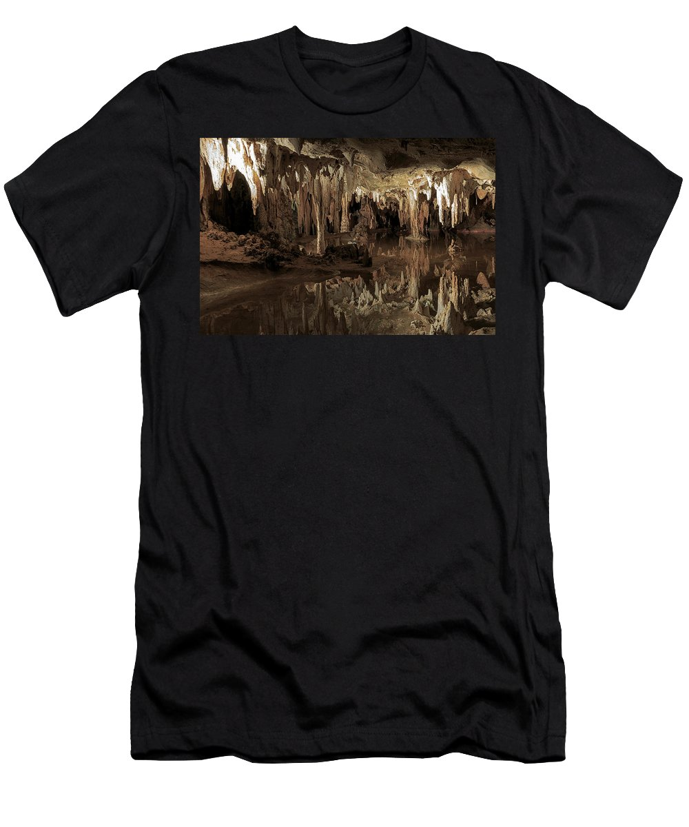Cavern Men's T-Shirt (Athletic Fit) featuring the photograph Cavern Reflections by Travis Rogers