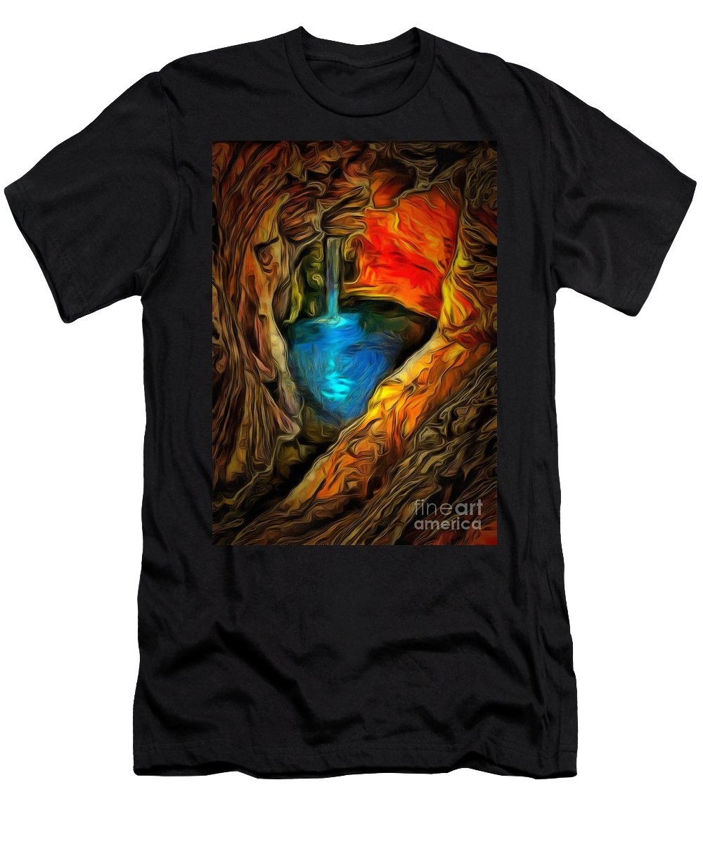 Cavernous Pool In Ambiance Men's T-Shirt (Athletic Fit) featuring the painting Cavernous Pool In Ambiance by Catherine Lott