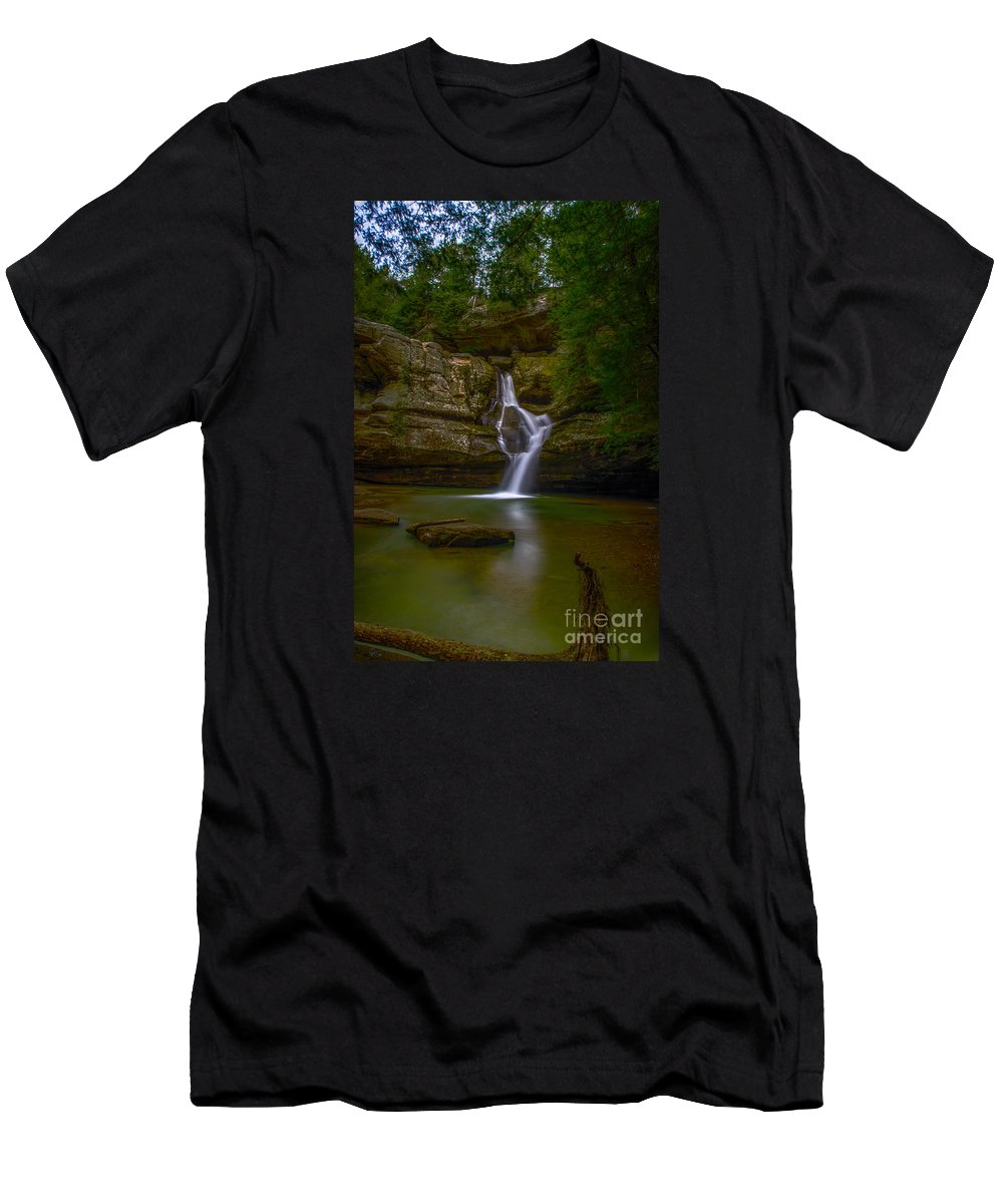 Waterfall Men's T-Shirt (Athletic Fit) featuring the photograph Cedar Falls 2 - Hocking Hills Ohio Waterfall by Ina Kratzsch
