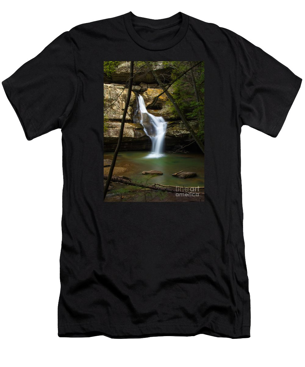 Hocking Hills Men's T-Shirt (Athletic Fit) featuring the photograph Cedar Falls - Hocking Hills Ohio Waterfall by Ina Kratzsch