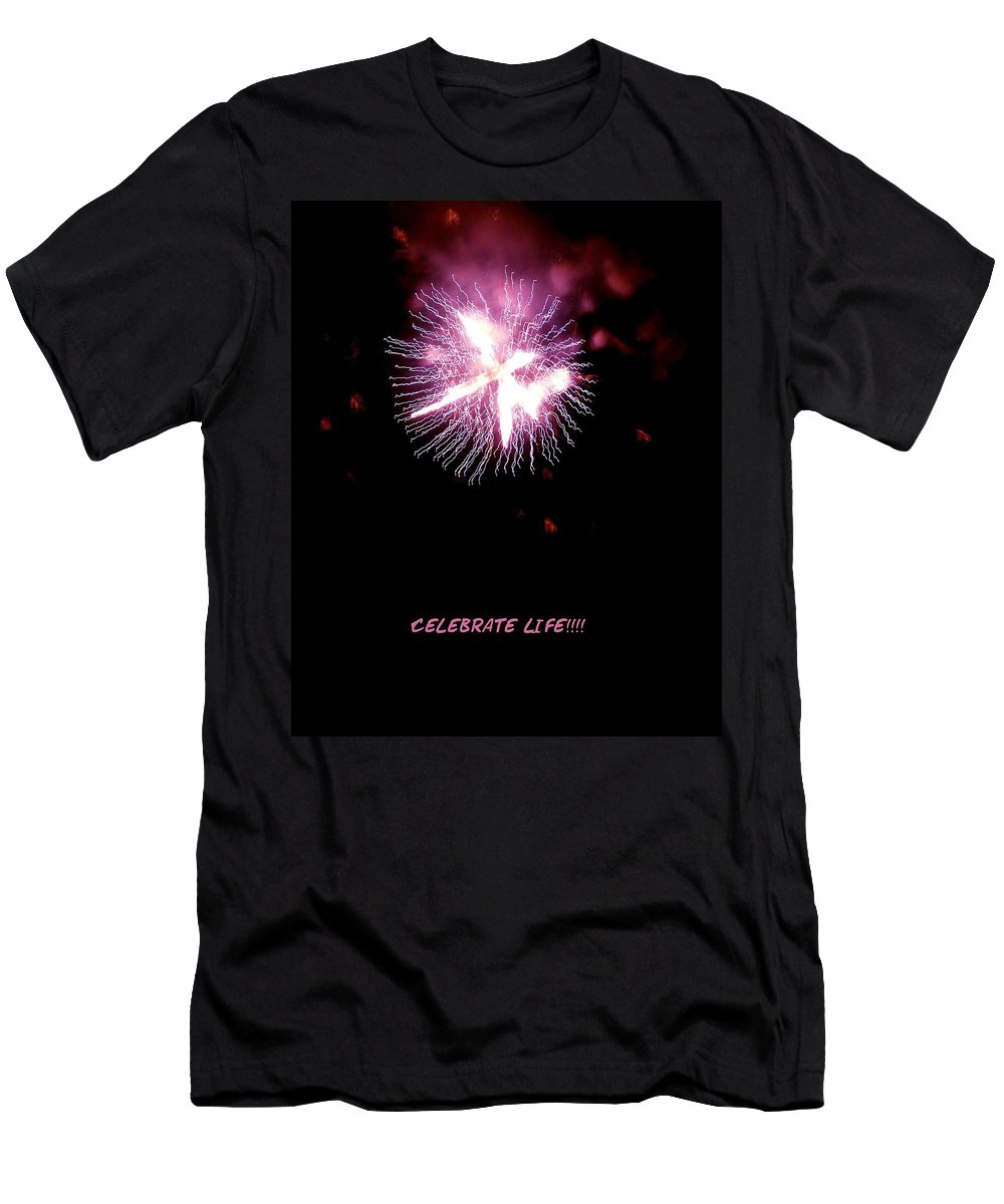 Fireworks Men's T-Shirt (Athletic Fit) featuring the photograph Celebrate Life by Kendall Eutemey