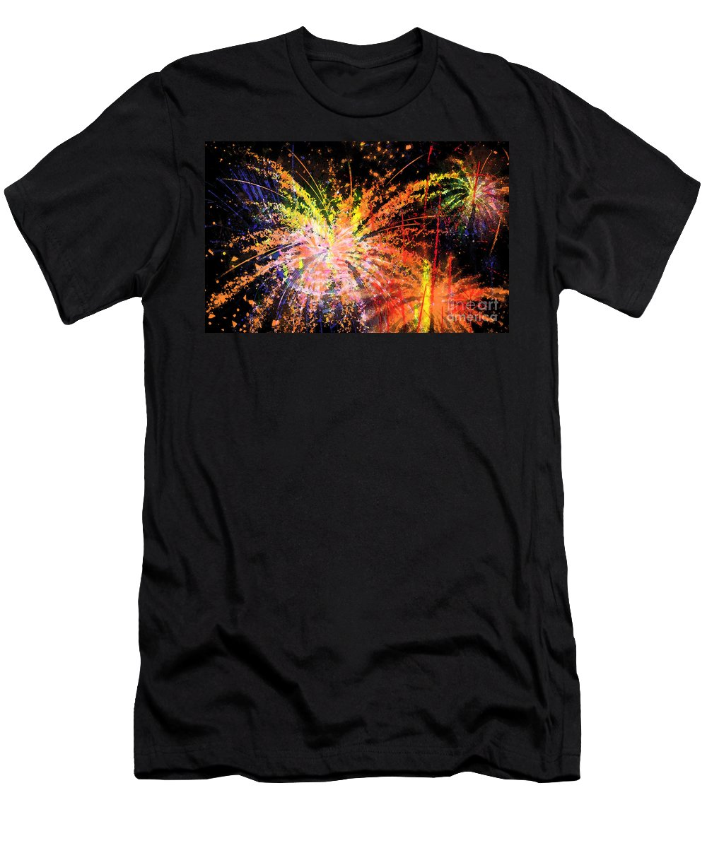 Fireworks Men's T-Shirt (Athletic Fit) featuring the digital art Celebration by Richard Rizzo