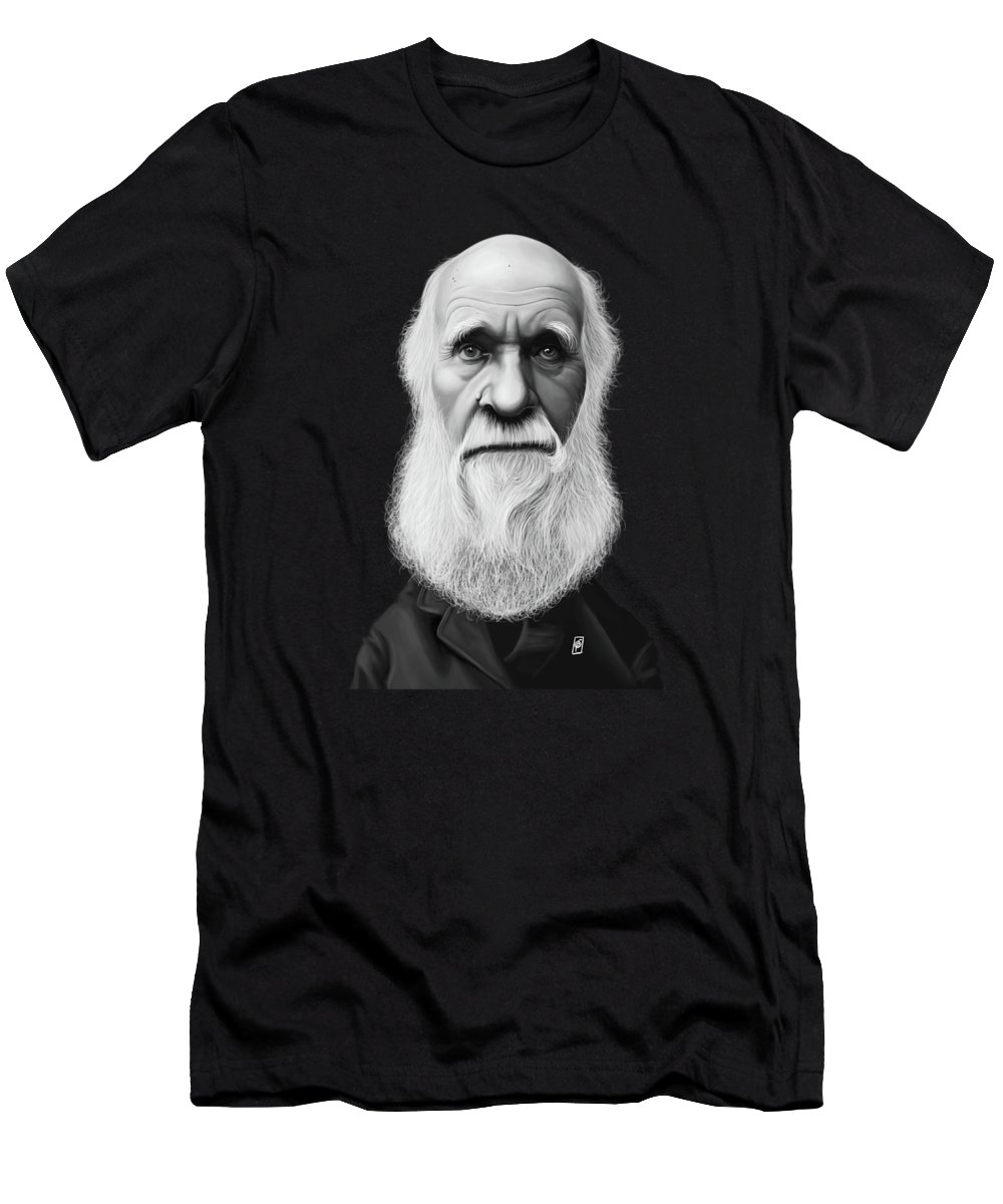 Illustration Men's T-Shirt (Athletic Fit) featuring the digital art Celebrity Sunday - Charles Darwin by Rob Snow