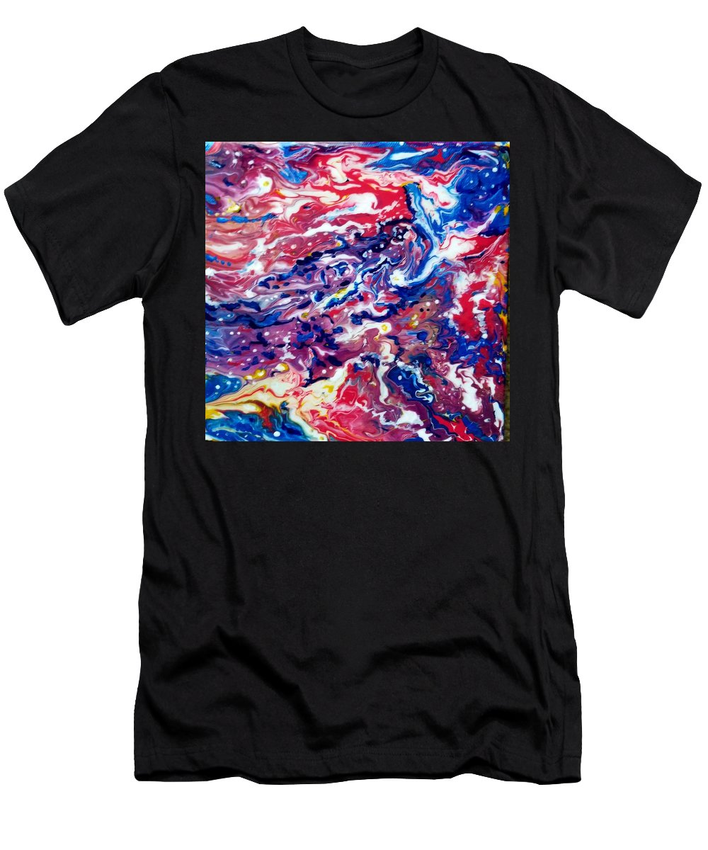 Abstract Crab Sea Sky Ocean Red Men's T-Shirt (Athletic Fit) featuring the painting Celestial Crab by Gail Butler