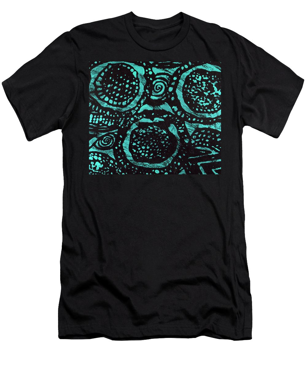 Monoprint Men's T-Shirt (Athletic Fit) featuring the painting Celestial Garden by Wayne Potrafka