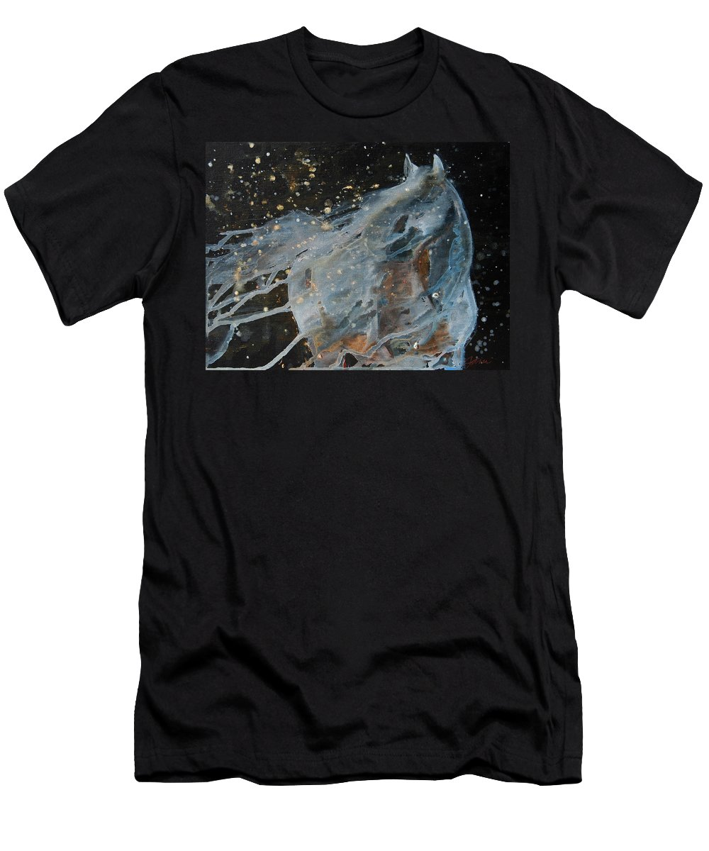 Horse Men's T-Shirt (Athletic Fit) featuring the painting Celestial Stallion by Jani Freimann