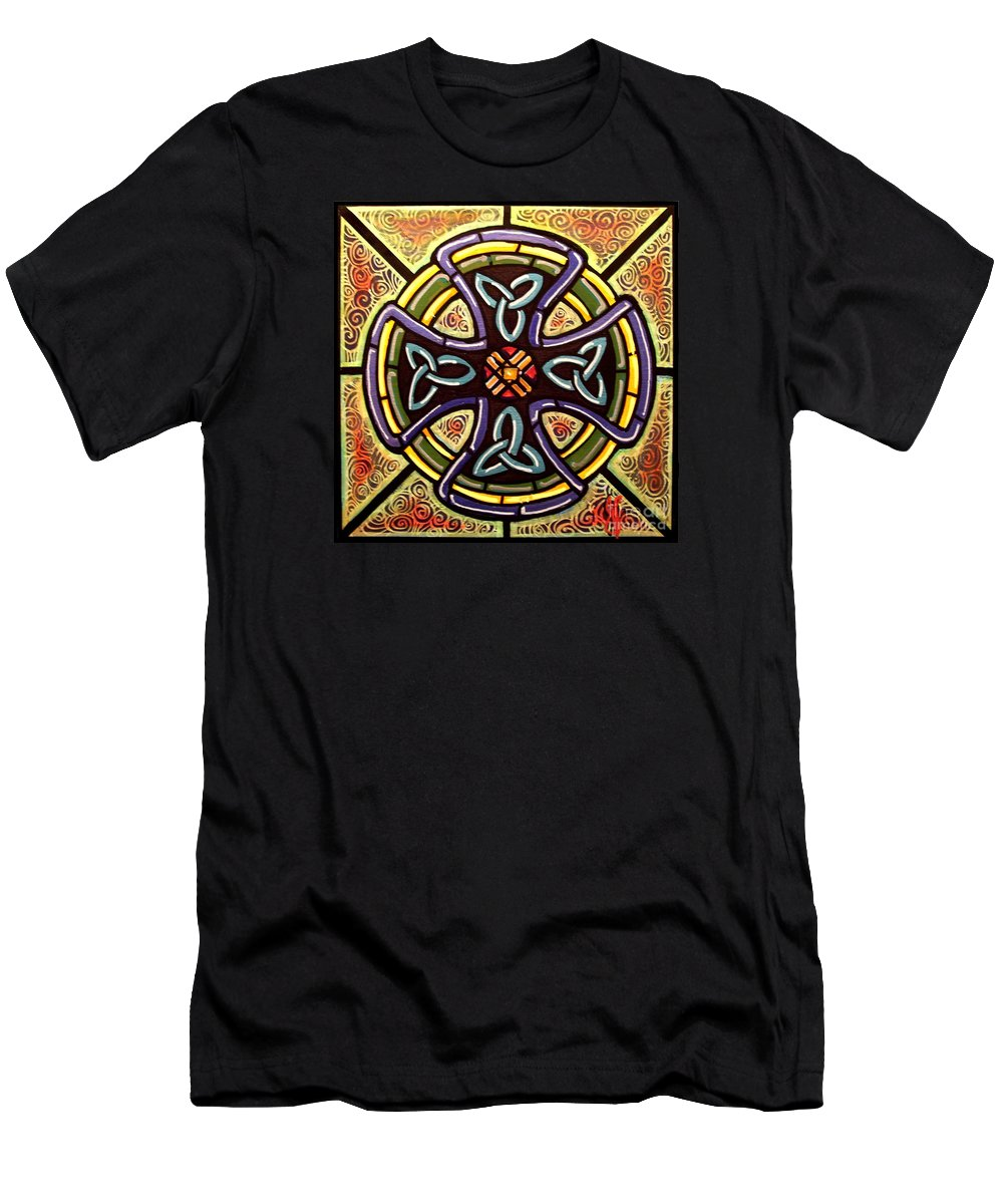 Celtic Men's T-Shirt (Athletic Fit) featuring the painting Celtic Cross 2 by Jim Harris