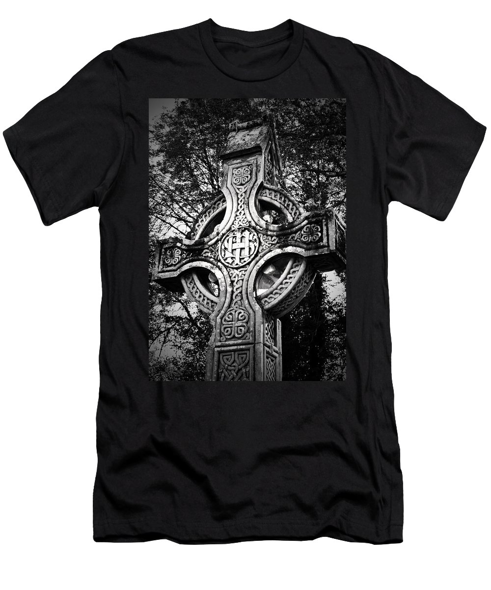 Irish Men's T-Shirt (Athletic Fit) featuring the photograph Celtic Cross Detail Killarney Ireland by Teresa Mucha