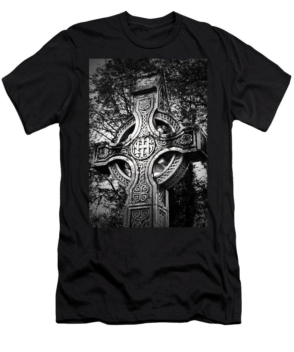 Irish Men's T-Shirt (Athletic Fit) featuring the photograph Celtic Cross Detail Killarney Ireland by Teresa Mucha