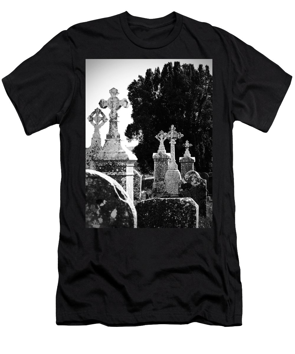 Celtic Men's T-Shirt (Athletic Fit) featuring the photograph Celtic Crosses At Fuerty Cemetery Roscommon Ireland by Teresa Mucha