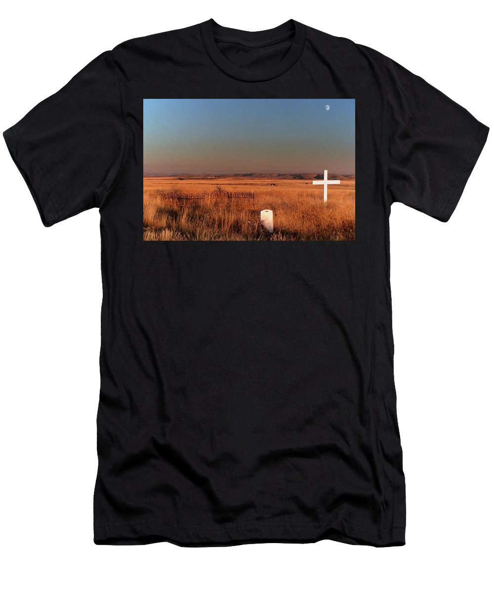 Cemetery Men's T-Shirt (Athletic Fit) featuring the photograph Cemetery Moonrise. by Spirit Vision Photography