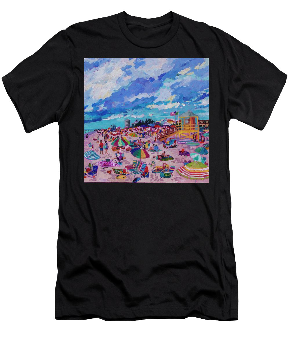 Siesta Key Beach Men's T-Shirt (Athletic Fit) featuring the painting Center Panel Of Triptych Busy Relaxing by Heather Nagy
