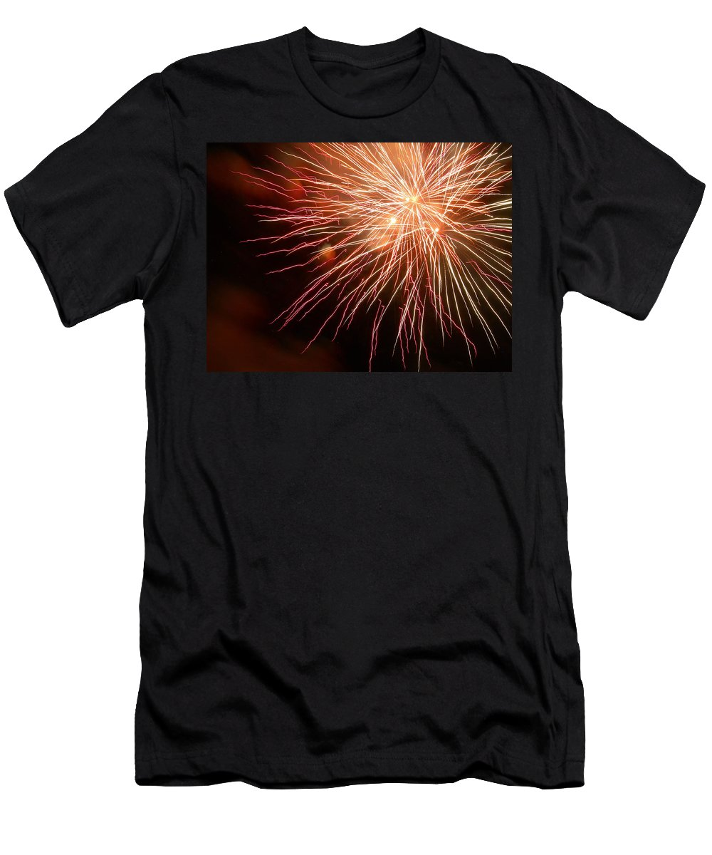 Fireworks Men's T-Shirt (Athletic Fit) featuring the photograph Center Stage by Lorraine Baum