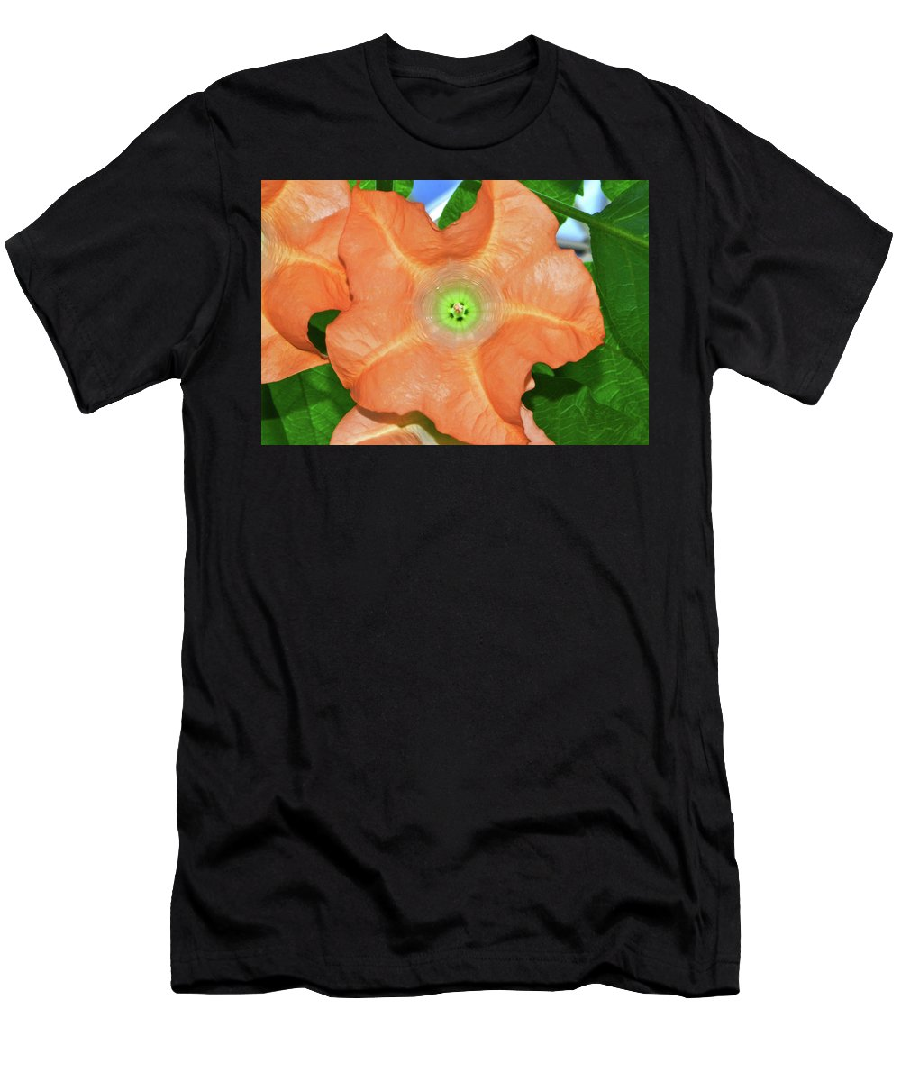 Flower Men's T-Shirt (Athletic Fit) featuring the photograph Centerpiece - Angel Trumpet 005 by George Bostian