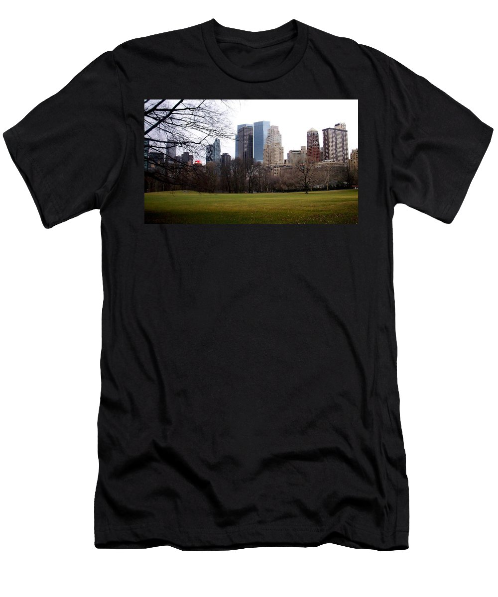 Central Park Men's T-Shirt (Athletic Fit) featuring the photograph Central Park by Anita Burgermeister