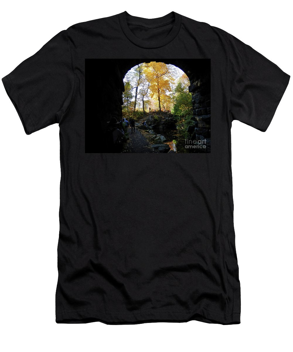 Central Park North Woods Fall Autumn Landscape Scenic Travel Men's T-Shirt (Athletic Fit) featuring the photograph Central Park North Woods In The Fall by Miriam Cintron