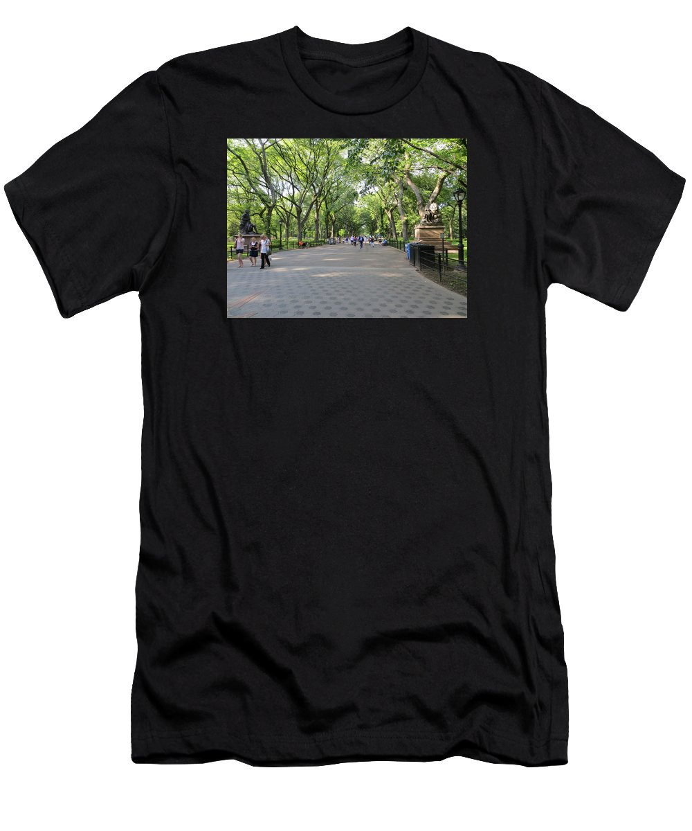 Central Park Men's T-Shirt (Athletic Fit) featuring the photograph Central Park The Mall by Miguel Sella