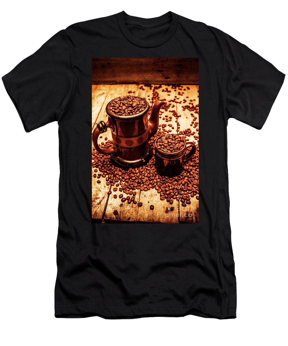 Hot Men's T-Shirt (Athletic Fit) featuring the photograph Ceramic Coffee Pot And Mug Overflowing With Beans by Jorgo Photography - Wall Art Gallery