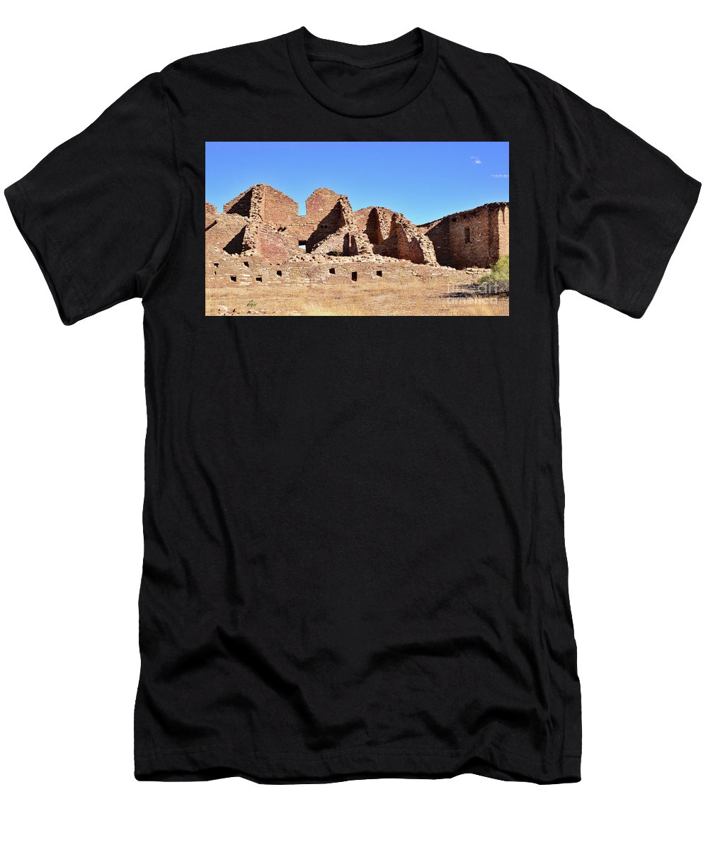 Chaco Canyon Men's T-Shirt (Athletic Fit) featuring the photograph Chaco Ruins by Debby Pueschel