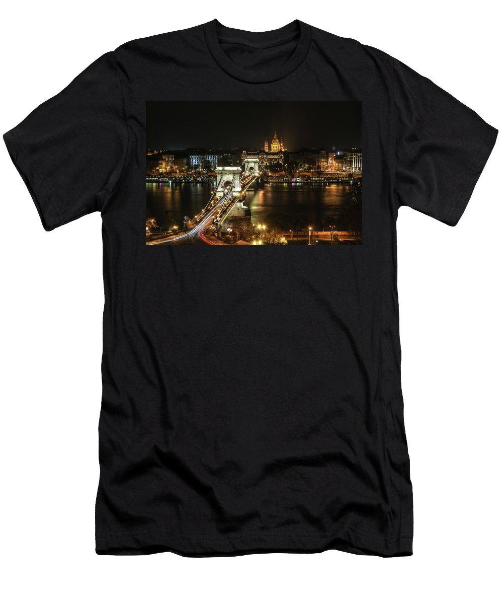 Chain Bridge Men's T-Shirt (Athletic Fit) featuring the digital art Chain Bridge by Dorothy Binder