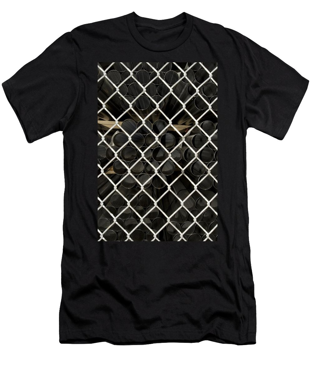 Fence Men's T-Shirt (Athletic Fit) featuring the photograph Chain Link Pipe by Sara Stevenson
