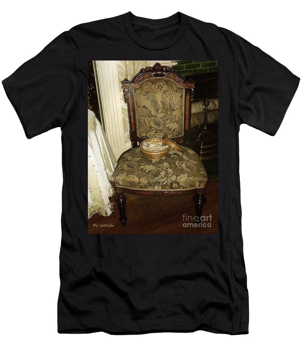 Antiques Men's T-Shirt (Athletic Fit) featuring the painting Chair By The Hearth by RC DeWinter