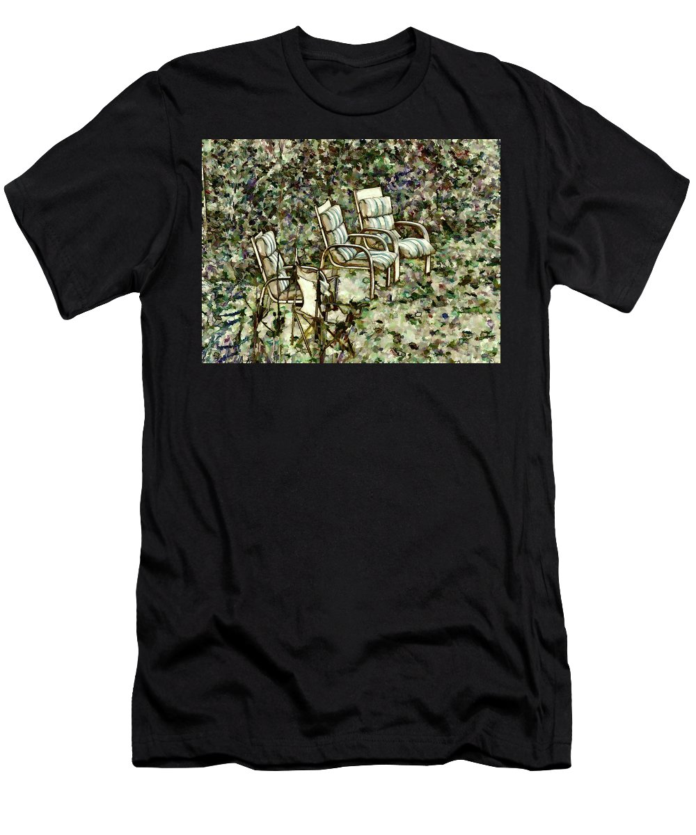 Secret Men's T-Shirt (Athletic Fit) featuring the painting Chairs In Backyard by Jeelan Clark