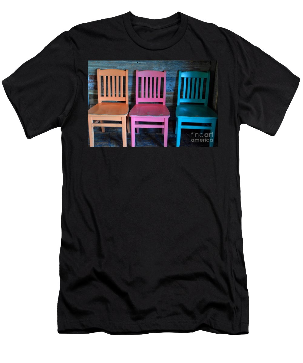 Chairs Men's T-Shirt (Athletic Fit) featuring the photograph Chairs by Jan Prewett