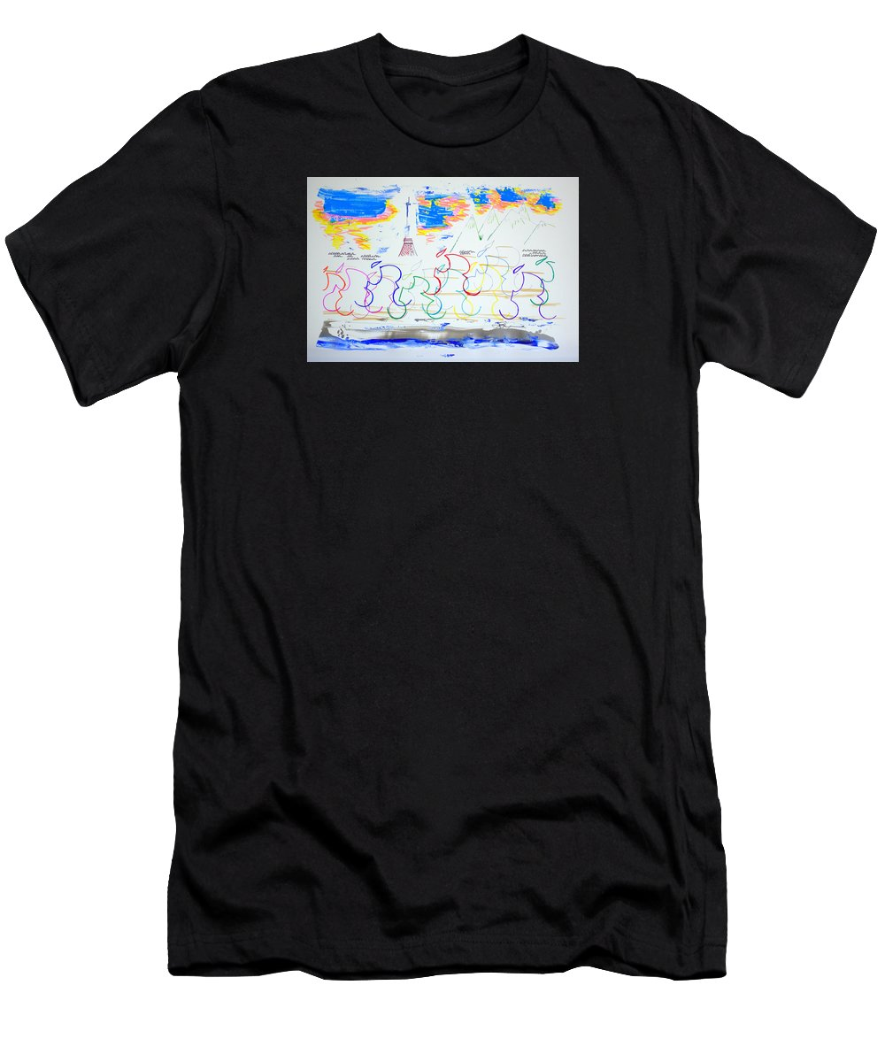 Abstract T-Shirt featuring the drawing Challenging The Mind And Body by J R Seymour