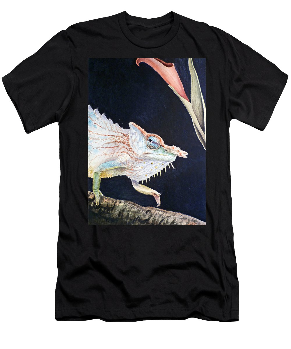 Chameleon Men's T-Shirt (Athletic Fit) featuring the painting Chameleon by Irina Sztukowski