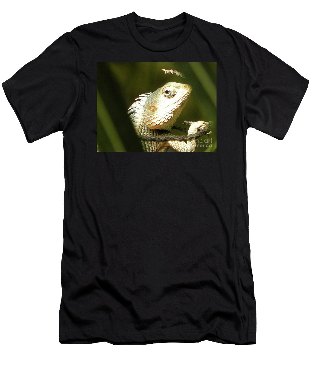 Chameleon Men's T-Shirt (Athletic Fit) featuring the photograph Chameleon Up-close 1 by Gallery Hermana
