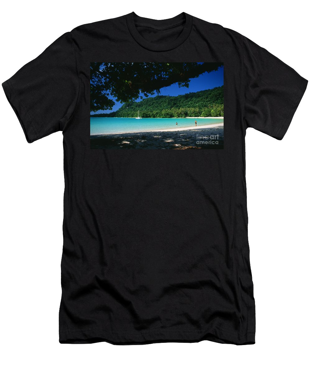 Aqua Men's T-Shirt (Athletic Fit) featuring the photograph Champagne Beach by Peter Stone - Printscapes