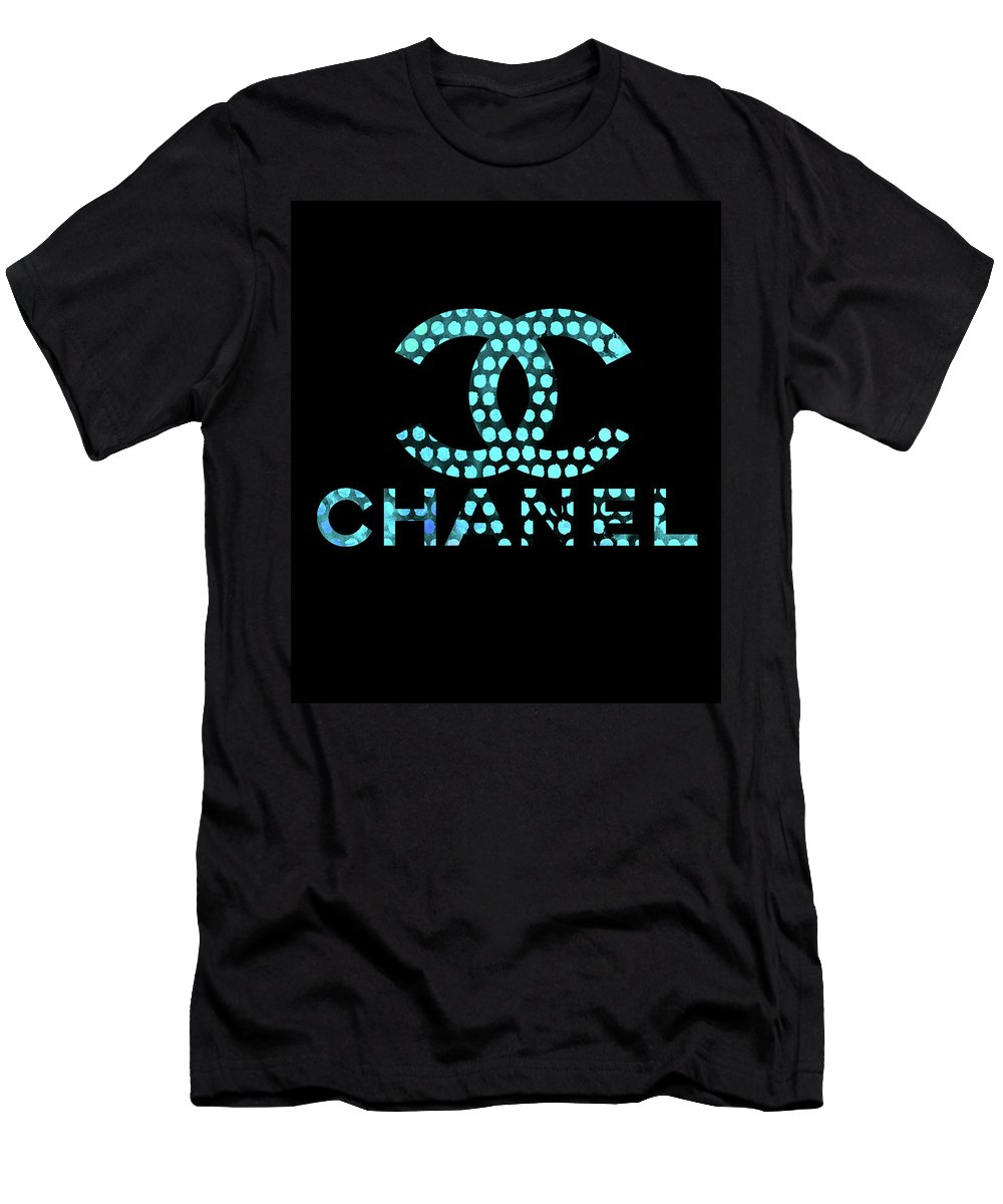 Chanel Painting Men's T-Shirt (Athletic Fit) featuring the digital art Chanel Light Blue Points by Del Art