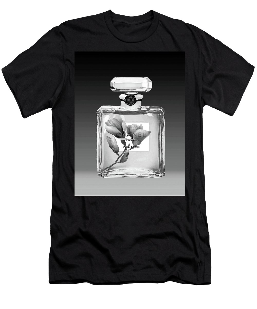Chanel Poster Men's T-Shirt (Athletic Fit) featuring the mixed media Chanel Perfume Black Flower by Del Art