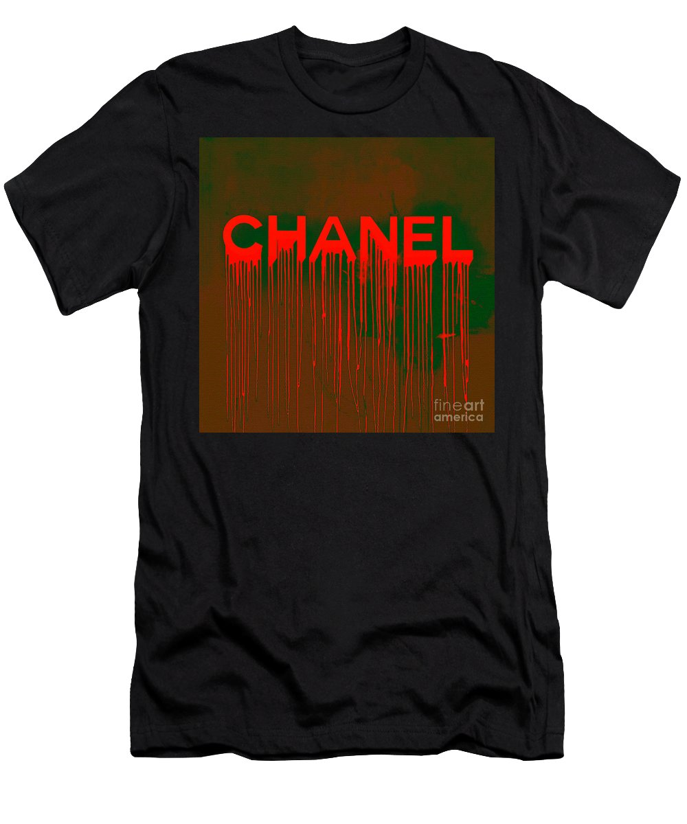Chanel Men's T-Shirt (Athletic Fit) featuring the painting Chanel Plakative Fashion - Neon Weave by Felix Von Altersheim